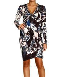 Emilio Pucci Dress Long Sleeve V Jersey with Chain Details Print Appaloosa - Lyst