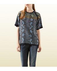 Gucci Python Print Silk T-shirt - Lyst