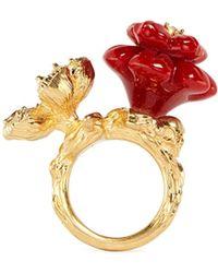 Alexander McQueen Crystal Resin Duo Flower Skull Ring - Lyst