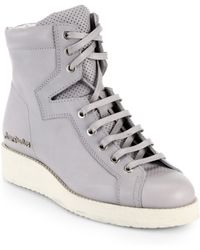 Acne Studios Leather High-Top Wedge Sneakers - Lyst