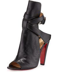 Christian Louboutin Hippik Napa Red Sole Sandal - Black