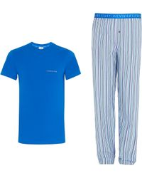 Calvin Klein Cotton Woven Pyjama Pant and Crew Neck Tshirt in A Bag Blue - Lyst