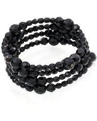 Carolee - Jet Black Crystal 3-row Bracelet - Lyst