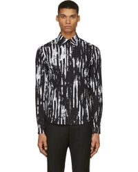 McQ by Alexander McQueen Black and White Distorted Stripe Shirt - Lyst