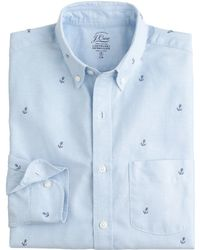 J.Crew Slim Lightweight Vintage Oxford Cloth Shirt With Embroidered Anchors - Lyst