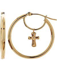 Lord & Taylor - 14k Yellow Gold Cross Hoop Earrings - Lyst