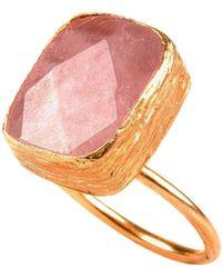 Toosis Rose Quartz Rectangle Ring - Lyst
