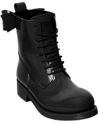 RED Valentino 40mm Rubber Lace Up Bow Boots - Black