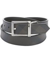 Burberry Charcoal Nova Check Print Leather 'Webster' Reversible Belt - Lyst