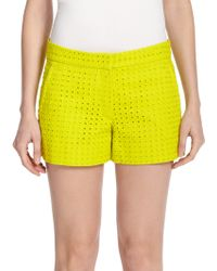Theory Blaynee Cotton Eyelet Shorts yellow - Lyst