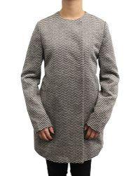 CoffeeShop - Herringbone Collarless Wool Coat - Lyst
