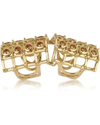Bernard Delettrez - Articulated Cage And Studs W/cognac Diamonds Ring - Lyst