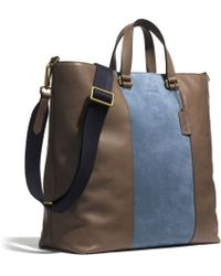 Coach Bleecker Center Stripe Day Tote in Leather blue - Lyst