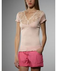 Patrizia Pepe Short Sleeve T-Shirt In Silk With Embroidery - Lyst
