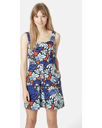 Topshop 'Paris' Floral Pinafore Dress - Lyst