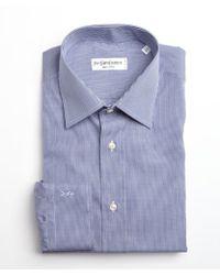 Saint Laurent Navy and White Mini Check Cotton Point Collar Dress Shirt - Lyst