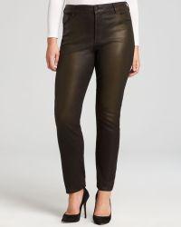 Nydj Plus Coated Skinny Jeans In Bronze - Lyst