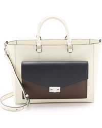 Tory Burch T Lock Colorblock East / West Tote - New Ivory Multi - Lyst