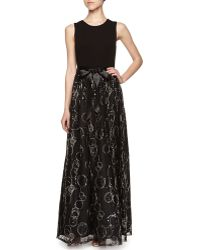 Aidan Mattox Lace and Jersey Combo Gown - Lyst