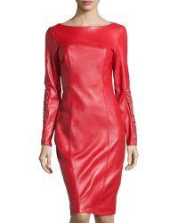 Monique Lhuillier Long Sleeve Leatherlace Dress - Lyst