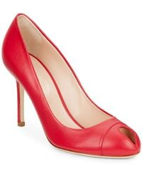 Sergio Rossi Leather Peep-Toe Pumps pink - Lyst