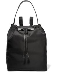The Row - Leather-trimmed Satin Backpack - Lyst