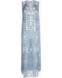 Marie France Van Damme Sleeveless Long Kurta: Blue