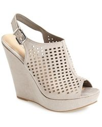 Chinese Laundry 'Meet Up' Slingback Wedge Peep Toe Sandal gray - Lyst