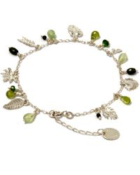 Alex Monroe - Silver Tropical Leaf And Stones Bracelet - Lyst