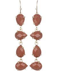 Kendra Scott Laine Orange Goldstone Drop Earrings - Lyst