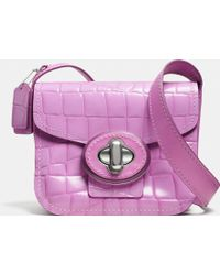 Coach Drifter Shoulder Bag In Croc Embossed Patent Leather - Lyst