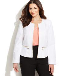 Calvin Klein Plus Size Zip-Front Collarless Jacket - Lyst