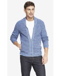 Express Textured Zip Front Shawl Collar Cardigan - Lyst