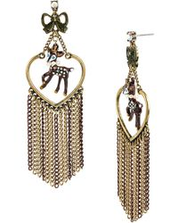 Betsey Johnson Deer Charm and Multi Chain Drop Earrings - Lyst
