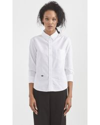 Band of Outsiders Oxford Cropped Sleeve Shirt white - Lyst