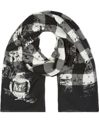 McQ by Alexander McQueen Black and White Optic Tartan Scarf - Lyst