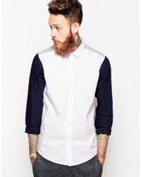 Asos Smart Shirt in Long Sleeve with Contrast Sleeves - Lyst
