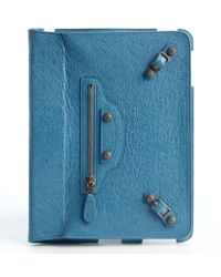 Balenciaga Turquoise Leather Buckle Detail Ipad Case - Lyst
