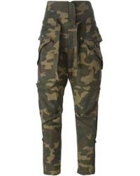 Faith Connexion Camouflage Cropped Trousers - Green