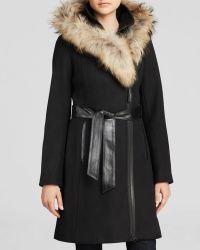 Mackage Belted Wool Coat with Fur Trim Hood - Lyst