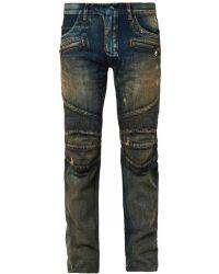Balmain Distressed Denim Biker Jeans - Lyst