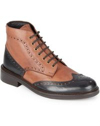 Ben Sherman Finley Leather Wingtip Boots - Lyst