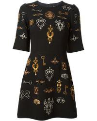 Dolce & Gabbana Medieval Keys  Slot Print Dress - Lyst