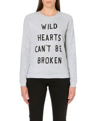 Zoe Karssen Wild Hearts Jersey Sweatshirt Grey - Lyst