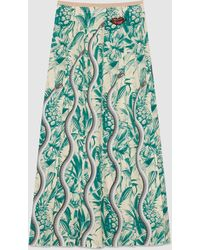 Gucci | Snake Print Pleated Skirt | Lyst