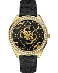 Guess Womens Logo-embossed Black Patent Leather Strap Watch 44mm - Lyst
