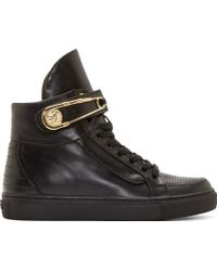 Versus  Black Safety Pin High Top Sneakers - Lyst
