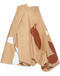 Jonathan Saunders Francis Flower-Appliqué Wool-Twill Skirt brown - Lyst
