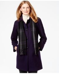 London Fog - Petite Peacoat With Plaid Scarf - Lyst