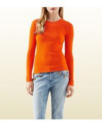 Gucci Orange Ribbed Stretch Viscose Top - Lyst